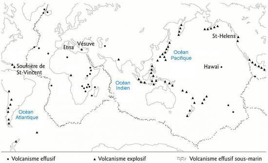 planisphere des volcans du monde - Image